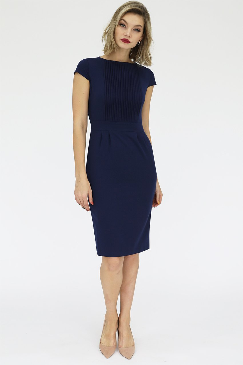 Платье-футляр со складками и короткими рукавами, 01.009.09.136