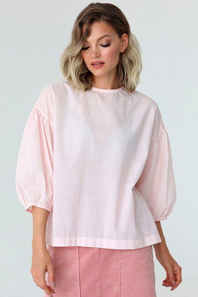 Блузка свободного кроя с объемными рукавами, 02.023.25.358