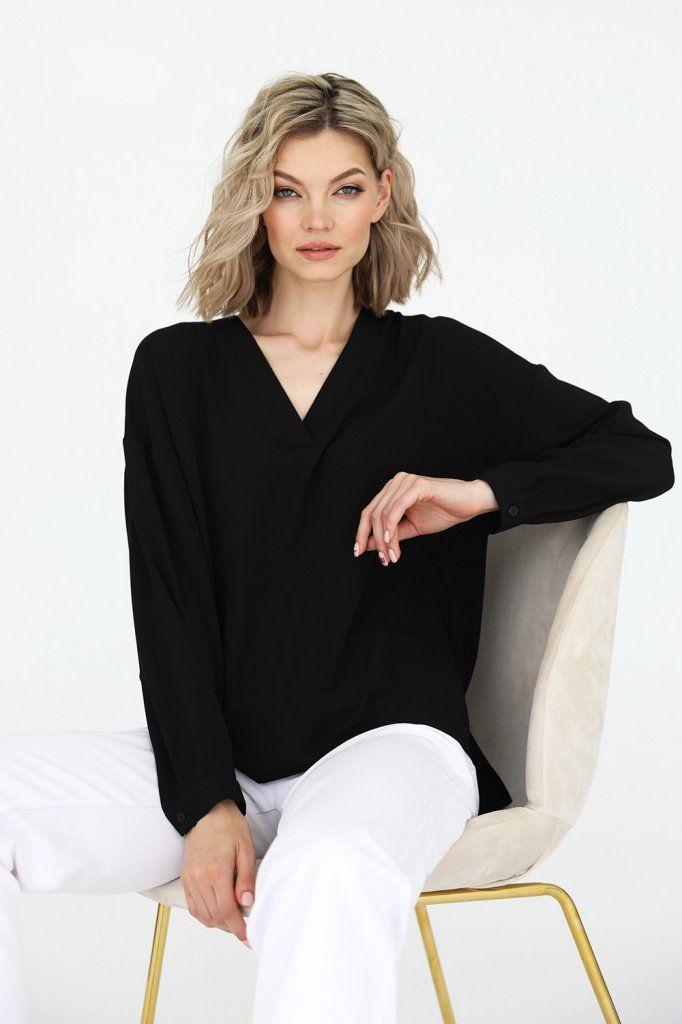 Блузка свободного кроя с v-образным вырезом, 3.02.021.10.13