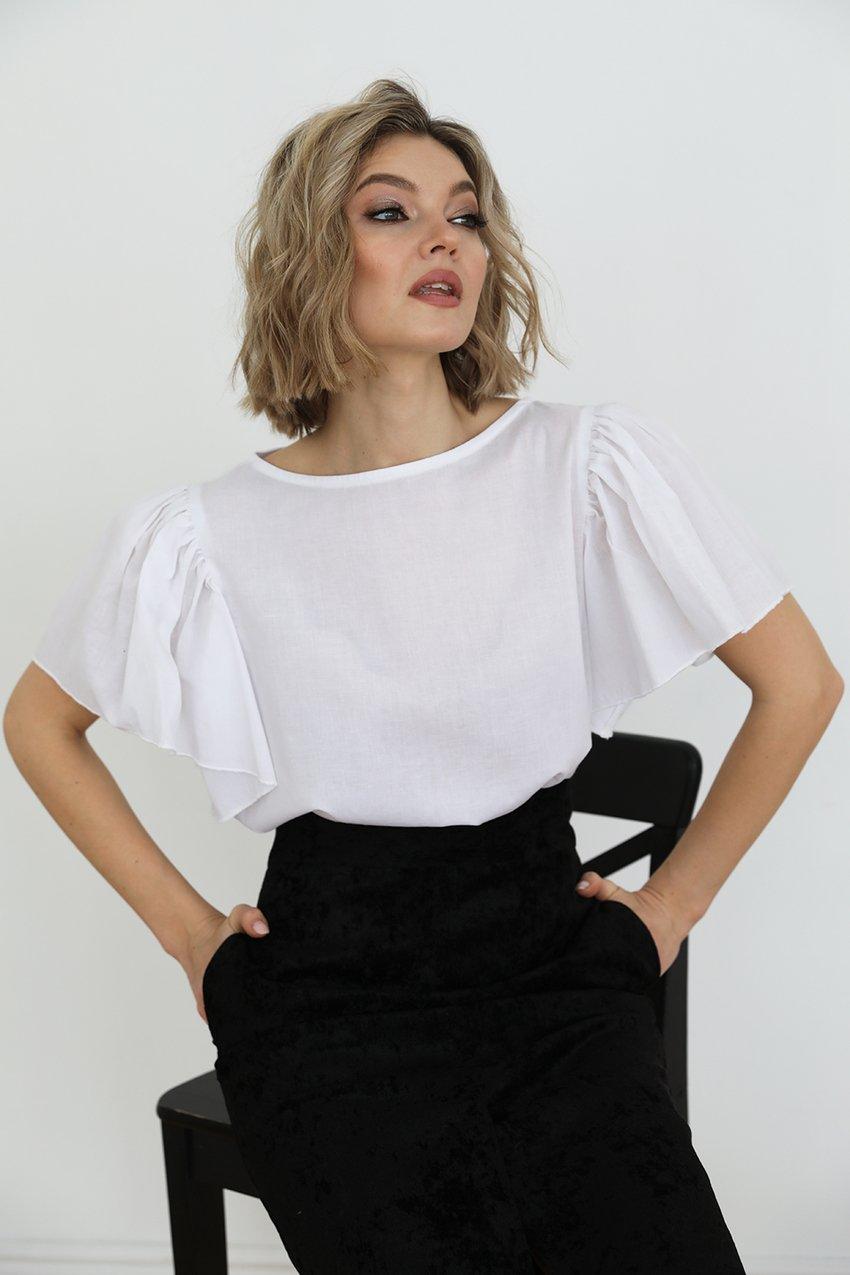 Блузка из хлопка с рукавами-крылышками, 1.02.041.25.388