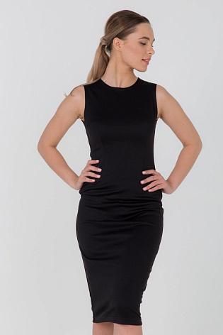 Платье-футляр из черного трикотажа